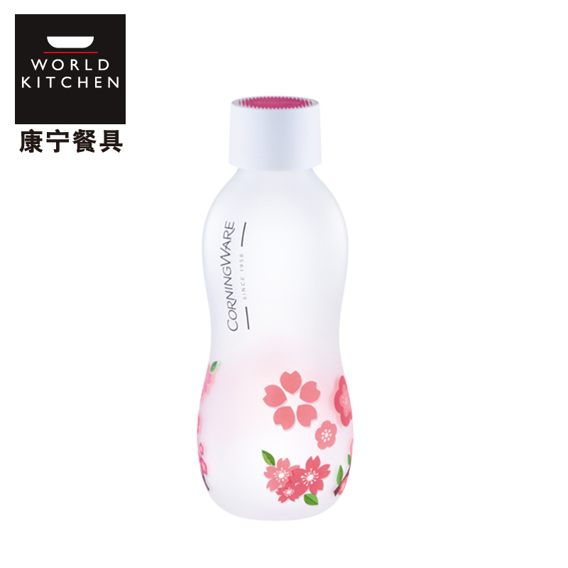 康宁X杯Corningware Bottle系列便携式大容量耐高温玻璃杯 饮料杯500ml 樱花粉